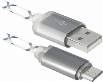 НОВИНКА. USB кабель USB08-03LT USB2.0 серый, LED, AM-MicroBM, 1м